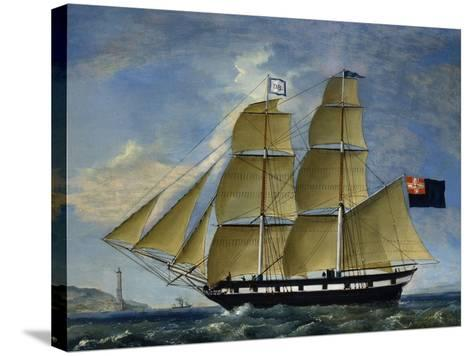 Naval Barquentine from Kingdom of Sardinia in Poplar Wood, Oil on Canvas--Stretched Canvas Print