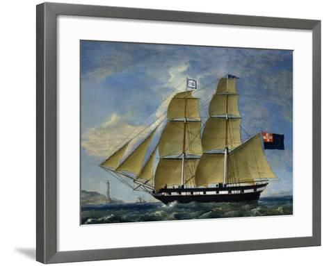 Naval Barquentine from Kingdom of Sardinia in Poplar Wood, Oil on Canvas--Framed Art Print
