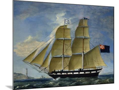 Naval Barquentine from Kingdom of Sardinia in Poplar Wood, Oil on Canvas--Mounted Giclee Print
