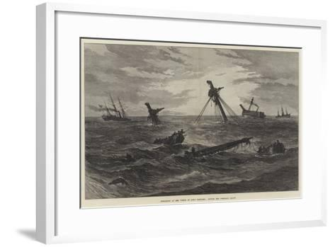 Operations at the Wreck of HMS Vanguard, Towing the Foreyard Adrift--Framed Art Print