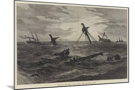 Operations at the Wreck of HMS Vanguard, Towing the Foreyard Adrift--Mounted Giclee Print