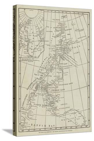 The North Pole Exhibition, Map Showing the Route of the Expedition--Stretched Canvas Print