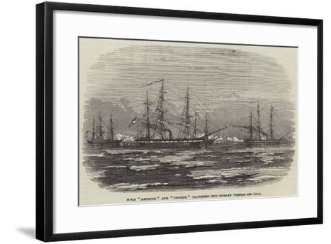 HMS Amphion and Cruiser Capturing Two Russian Vessels Off Riga--Framed Art Print