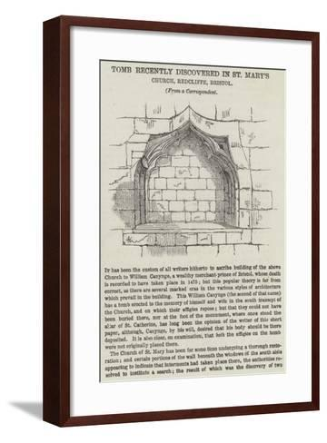 Tomb Recently Discovered in St Mary's Church, Redcliffe, Bristol--Framed Art Print