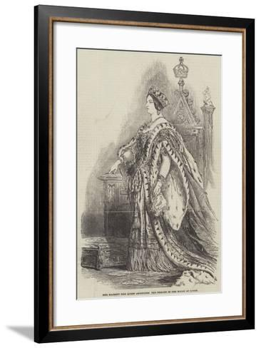 Her Majesty the Queen Ascending the Throne in the House of Lords--Framed Art Print