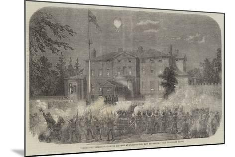 Torchlight Demonstration of Firemen at Fredericton, New Brunswick--Mounted Giclee Print