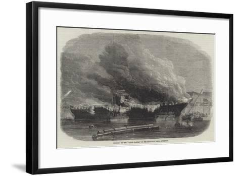 Burning of the James Baines, in the Huskisson Dock, Liverpool--Framed Art Print