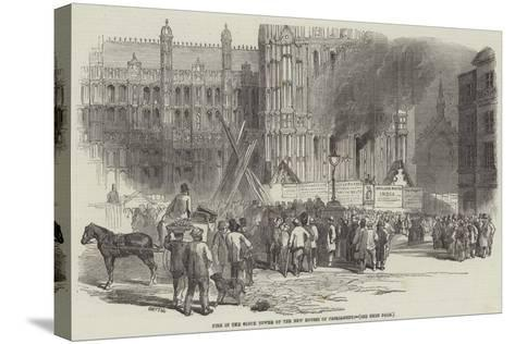 Fire in the Clock Tower of the New Houses of Parliament--Stretched Canvas Print