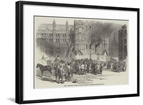 Fire in the Clock Tower of the New Houses of Parliament--Framed Art Print
