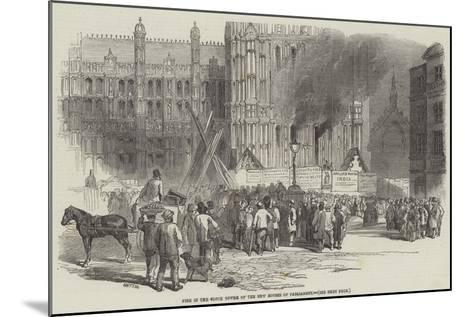 Fire in the Clock Tower of the New Houses of Parliament--Mounted Giclee Print