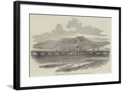 Bridgewater Bridge, View Towards Mount Dromedary, Hobart Town--Framed Art Print