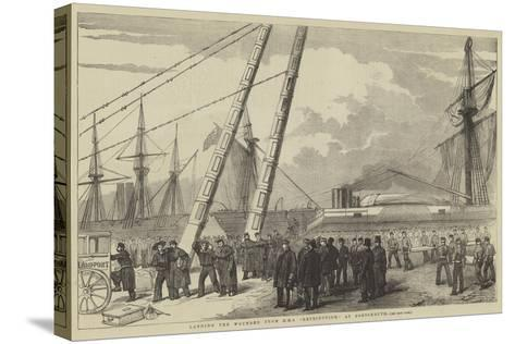 Landing the Wounded from HMS Retribution, at Portsmouth--Stretched Canvas Print