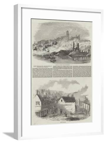 Great Conflagration and Explosion at Newcastle and Gateshead--Framed Art Print