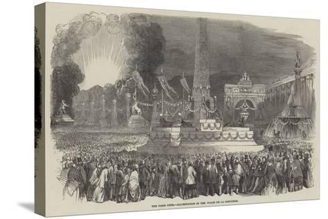The Paris Fete, Illumination in the Place De La Concorde--Stretched Canvas Print
