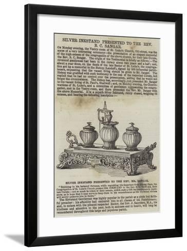 Silver Inkstand Presented to the Reverend B C Sangar--Framed Art Print