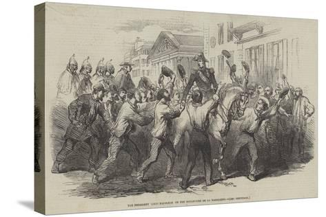 The President Louis Napoleon on the Boulevard De La Madeleine--Stretched Canvas Print