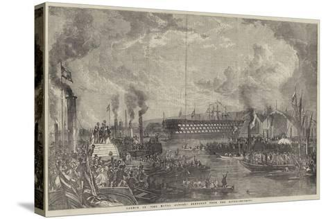Launch of The Royal Albert Sketched from the River--Stretched Canvas Print