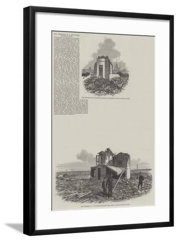 The Explosion of Gunpowder Magazine at Erith--Framed Art Print