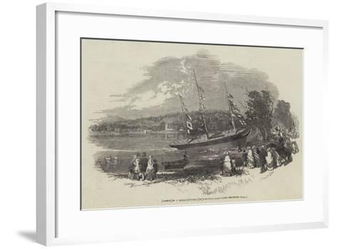Launch of a Model Gun-Brig, in Eastwell-Park--Framed Art Print