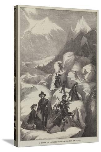 A Party of Tourists Crossing the Mer De Glace--Stretched Canvas Print
