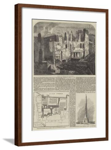 The Fire in the Strand, Site of Arundel House--Framed Art Print