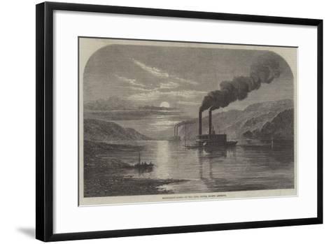 Moonlight Scene on the Ohio River, North America--Framed Art Print