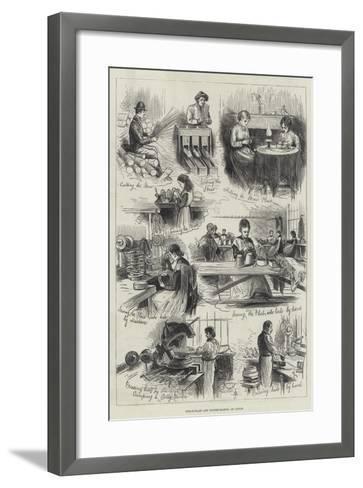 Straw-Plait and Bonnet-Making at Luton--Framed Art Print