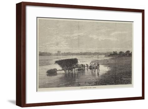 River Scenery in India, Sunset--Framed Art Print