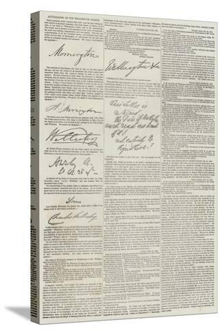 Autographs of the Wellington Family--Stretched Canvas Print