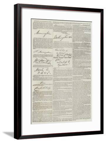 Autographs of the Wellington Family--Framed Art Print