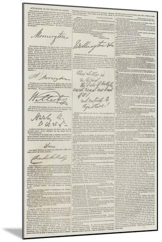 Autographs of the Wellington Family--Mounted Giclee Print