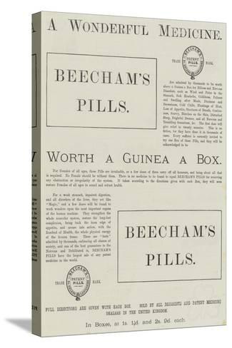 Advertisement, Beecham's Pills--Stretched Canvas Print