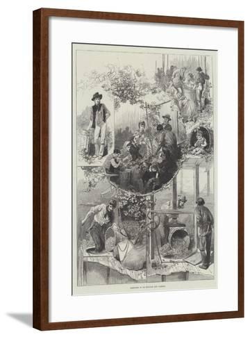 Sketches in an English Hop Garden--Framed Art Print