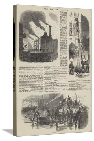Great Fire in Lambeth--Stretched Canvas Print