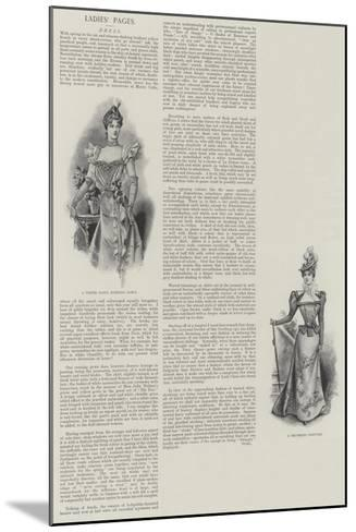 Ladies' Pages, Dress--Mounted Giclee Print