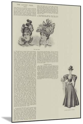 The Ladies' Page, Dress--Mounted Giclee Print