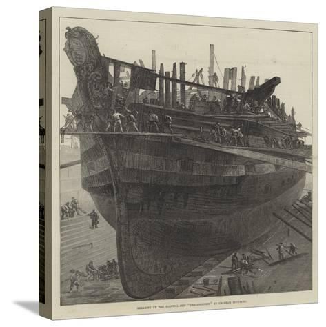 Breaking Up the Hospital-Ship Dreadnought at Chatham Dockyard--Stretched Canvas Print