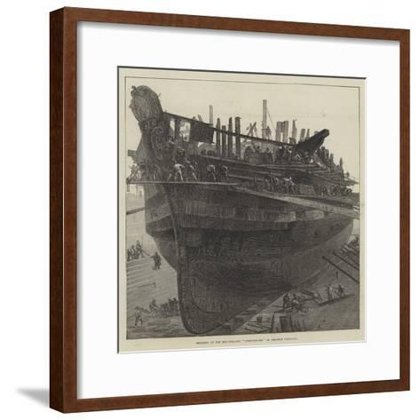Breaking Up the Hospital-Ship Dreadnought at Chatham Dockyard--Framed Art Print