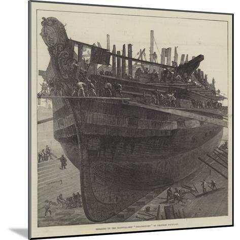 Breaking Up the Hospital-Ship Dreadnought at Chatham Dockyard--Mounted Giclee Print