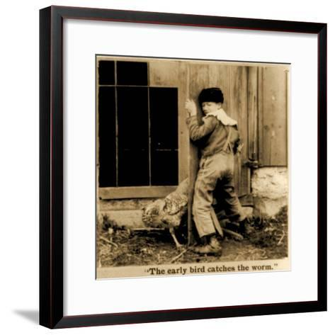 Detail of The Early Bird Catches the Worm Stereoscopic Card C.1900--Framed Art Print