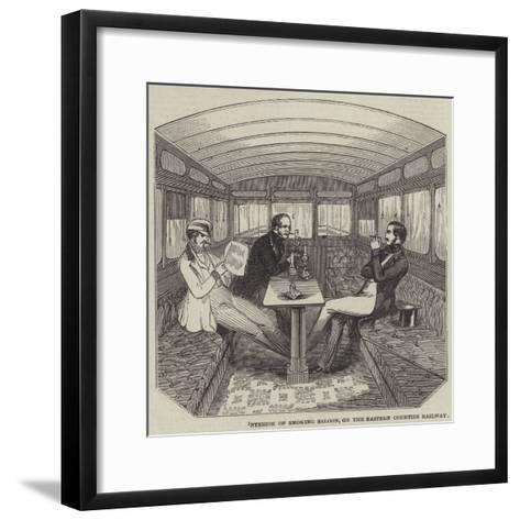 Interior of Smoking Saloon, on the Eastern Counties Railway--Framed Art Print