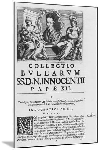 Collection of the Papal Bulls of Pope Innocent XII--Mounted Giclee Print