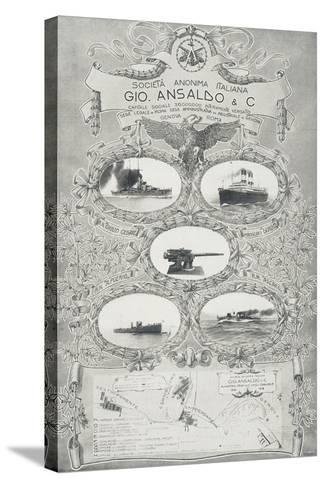 Poster for Ansaldo Shipyards in Genoa, 1912, Italy, 20th Century--Stretched Canvas Print