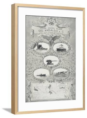 Poster for Ansaldo Shipyards in Genoa, 1912, Italy, 20th Century--Framed Art Print
