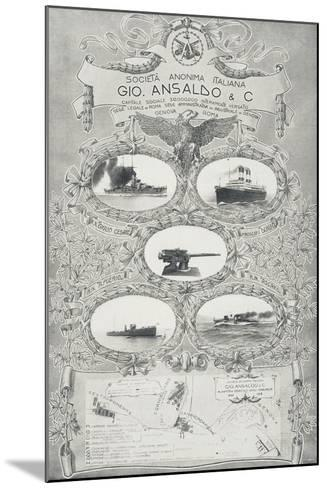Poster for Ansaldo Shipyards in Genoa, 1912, Italy, 20th Century--Mounted Giclee Print