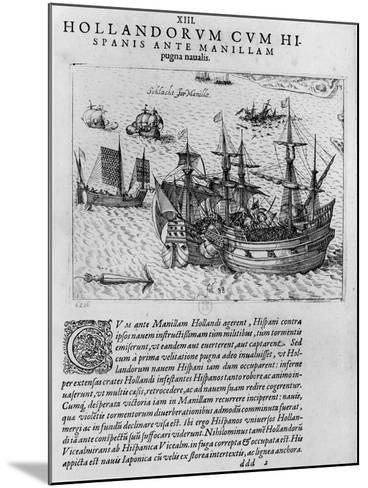 Naval Combat Between the Dutch and the Spanish Off the Coast of Manila--Mounted Giclee Print
