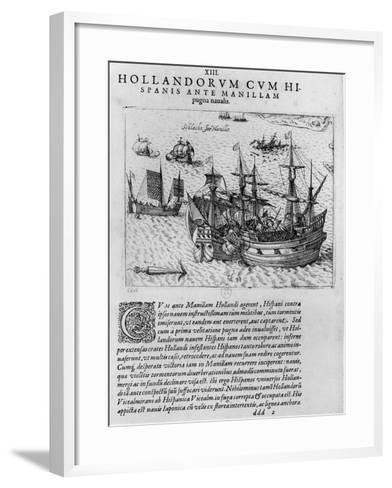 Naval Combat Between the Dutch and the Spanish Off the Coast of Manila--Framed Art Print