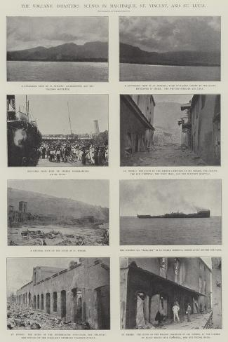 The Volcanic Disasters, Scenes in Martinique, St Vincent, and St Lucia--Stretched Canvas Print