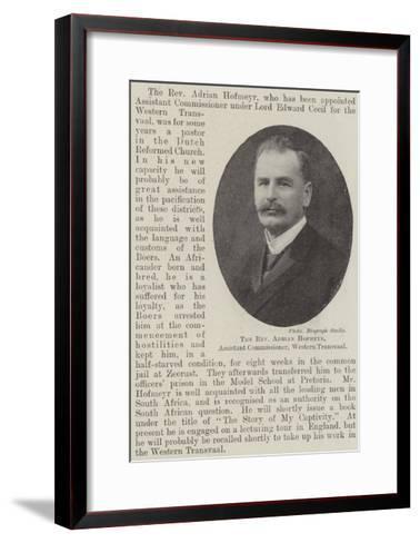The Reverend Adrian Hofmeyr, Assistant Commissioner, Western Transvaal--Framed Art Print