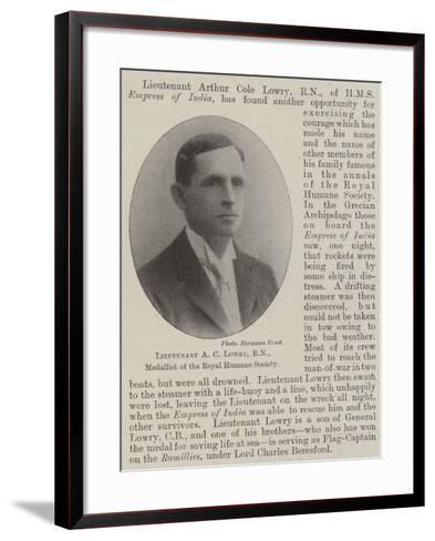 Lieutenant a C Lowry, Rn, Medallist of the Royal Humane Society--Framed Art Print